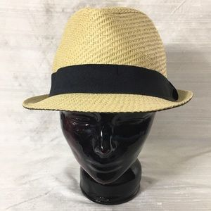 "Men's Straw Fedora - sz 22 1/2"" NWOT"